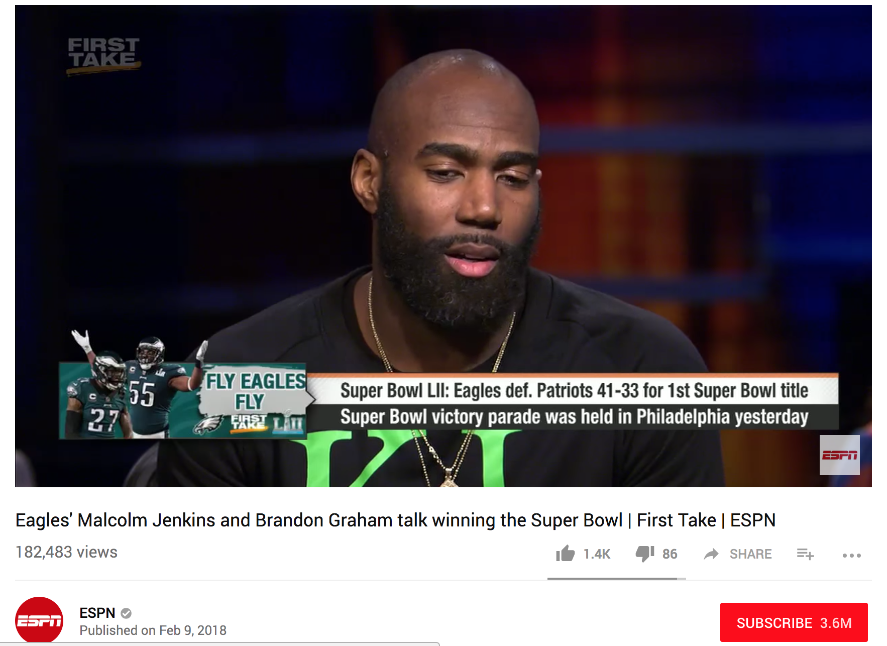 ESPN First Take -  First Take Stephen A. Smith and Max Kellerman are joined by Eagles' Malcolm Jenkins and Brandon Graham talk winning the Super Bowl.