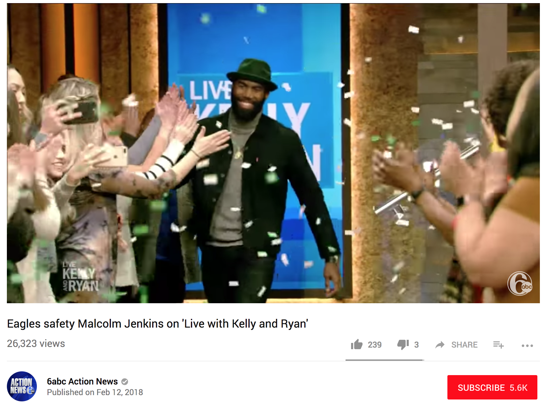 Live with Kelly and Ryan - Malcolm Jenkins on 'Live with Kelly and Ryan' on February 12, 2018.