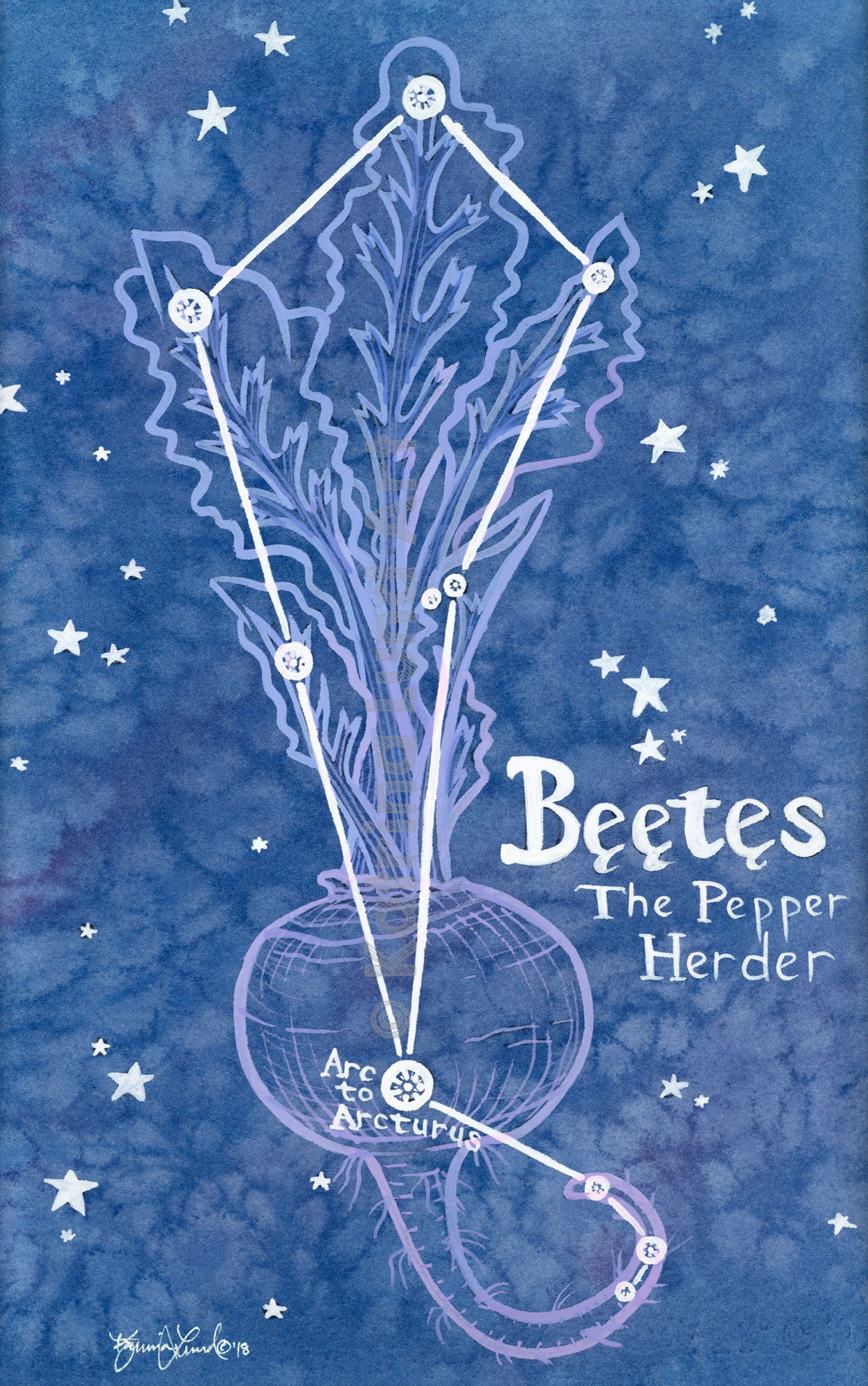 Beetes by night , watercolor & gouache.   Inspired by the constellation, Bootes, the bear herder.