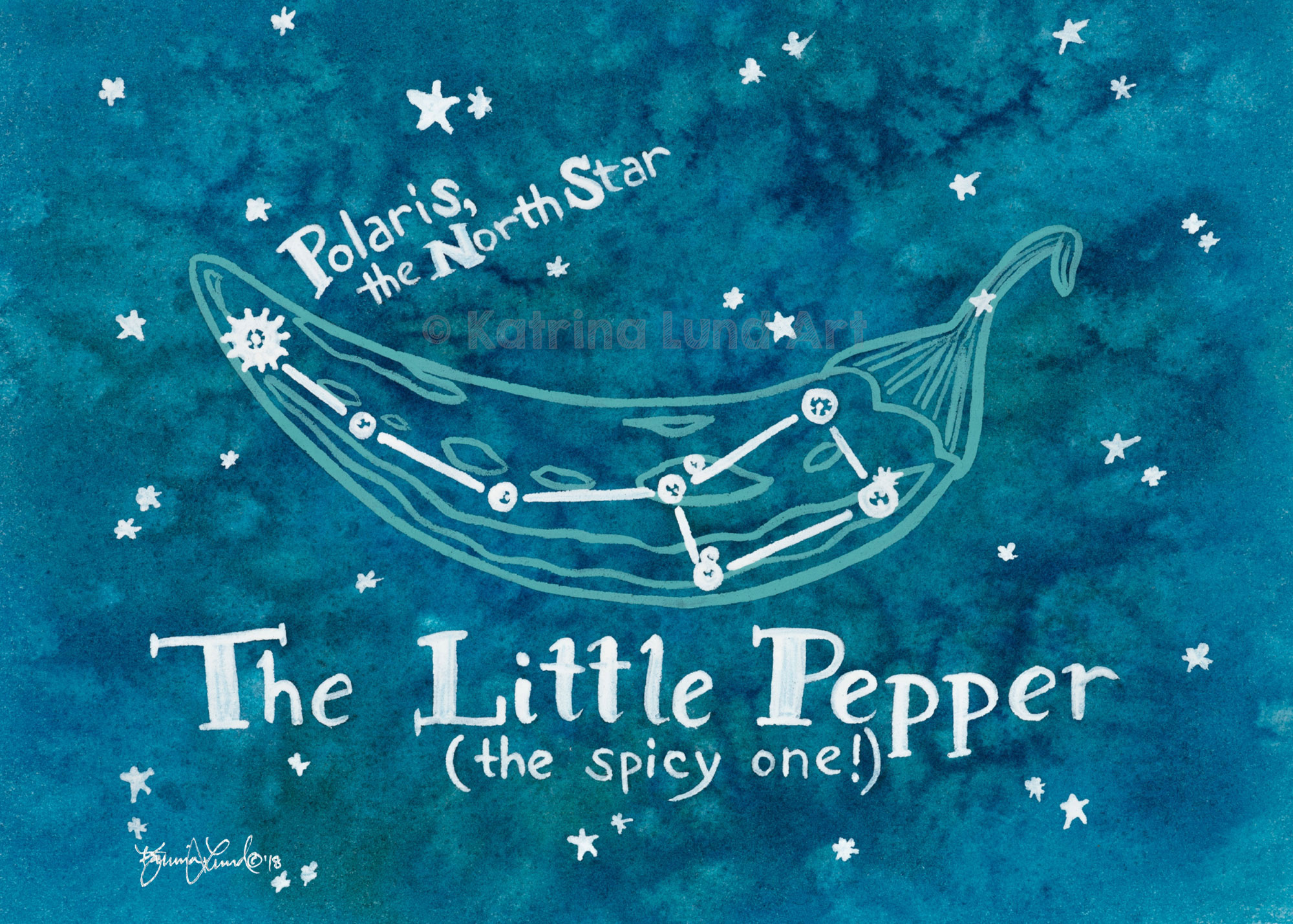 Little Pepper By Night , watercolor & gouache.   Inspired by the constellation, the Little Dipper, which also includes Polaris, the North Star.