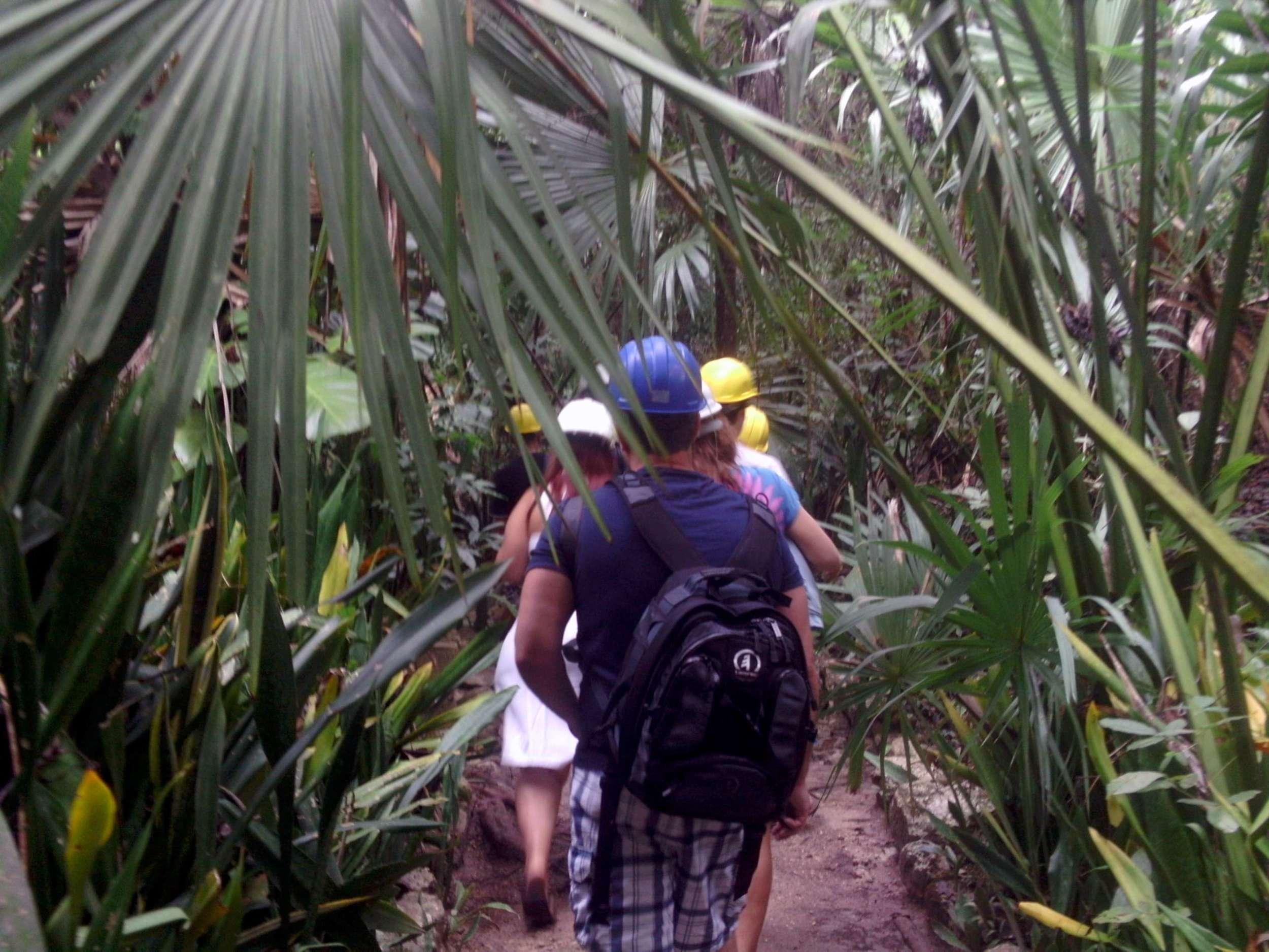 mainland off Cozumel, hiking through jungle to Chaak Tun cenote near Playa del Carmen