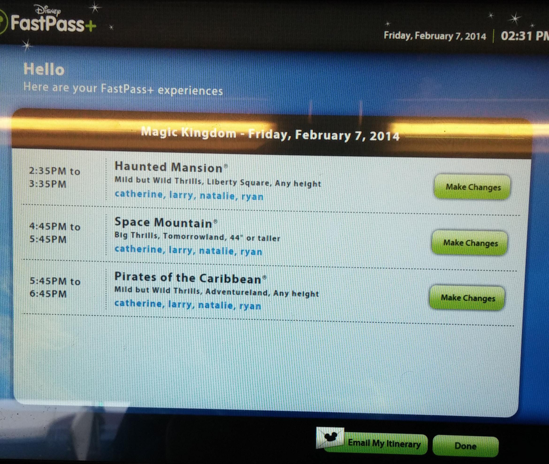Magic Kingdom FastPass reservations