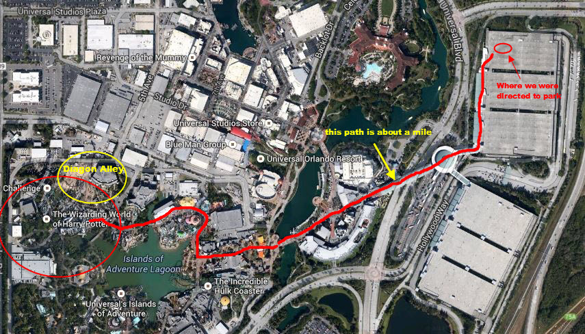 See how far the walk is from the parking deck to the Wizarding World. Notice that the Diagon Alley addition will not add a lot to the Wizarding World.
