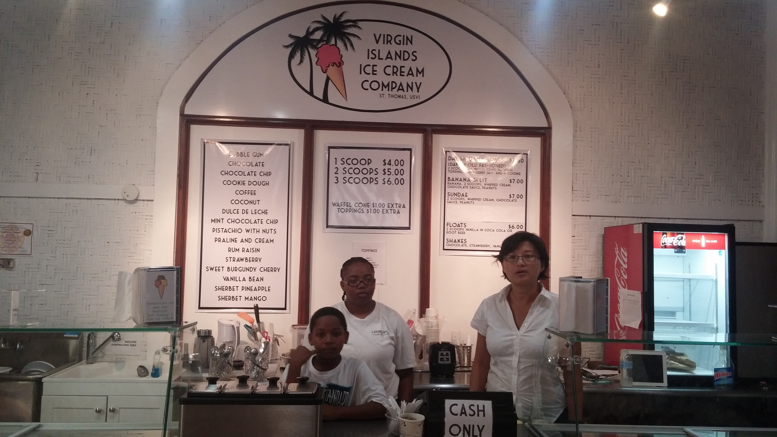 ice cream store in Vendors Plaza on St. Thomas