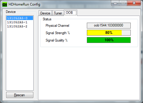 HTPC - SiliconDust diagnostics on tuning adapter signal strength