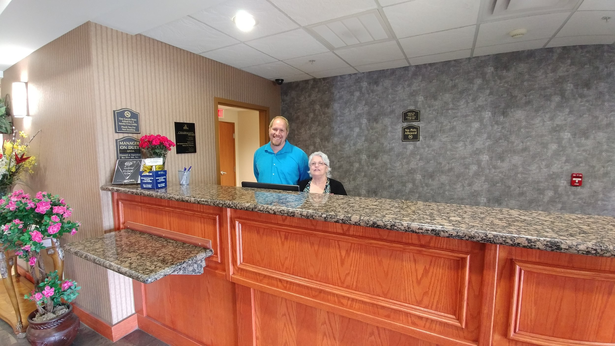 Linda and assistant manager Justin (Ken, general manager, not shown)