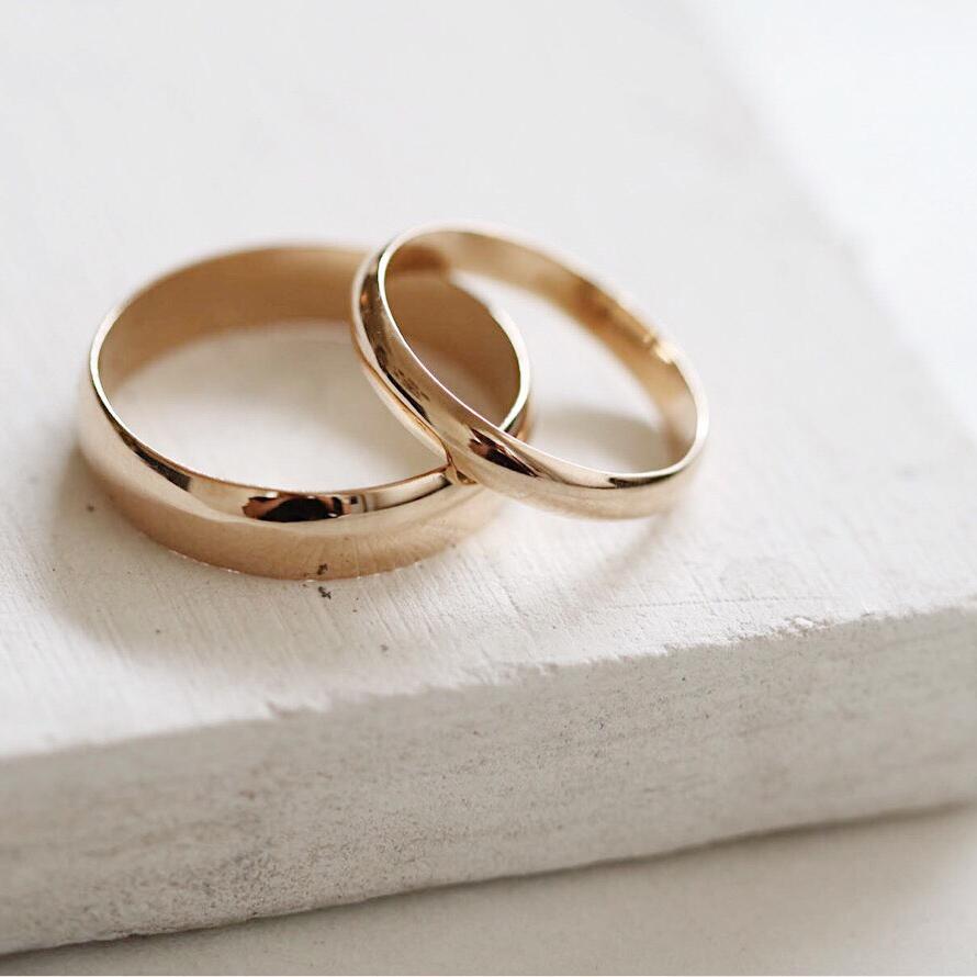 14k Gold Half round band ring