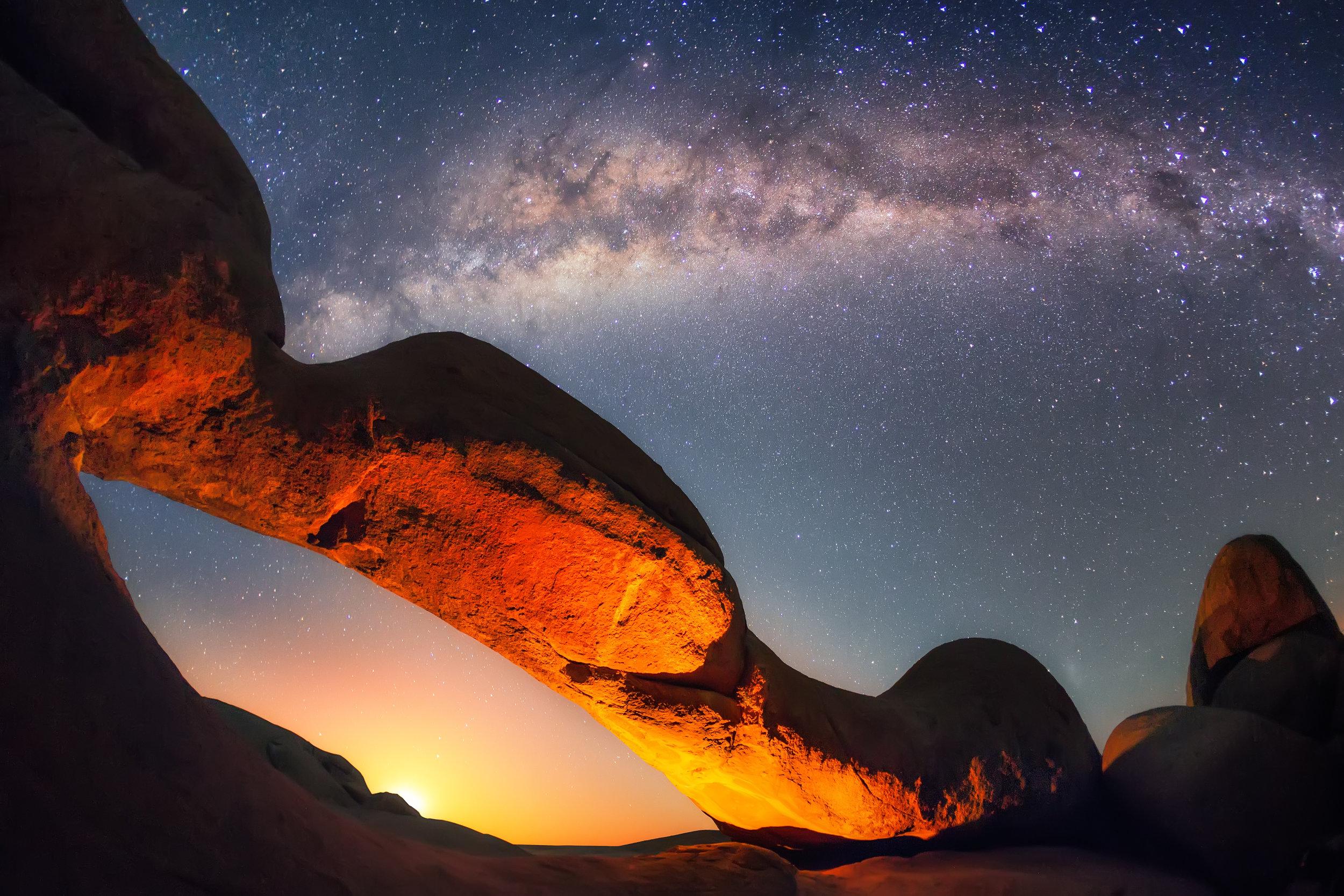 Milky Way over Spitzkoppe's Arch, Namib Desert, Namibia