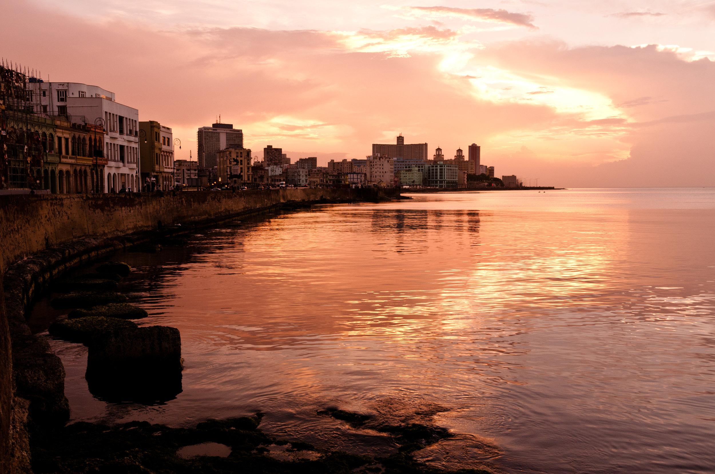 Malecon at Sunset. Havana, Cuba
