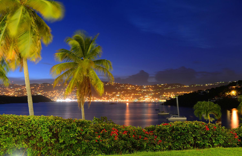 City of Charlotte Amalie and Long Bay at night, St. Thomas Island, US Virgin Islands, USA