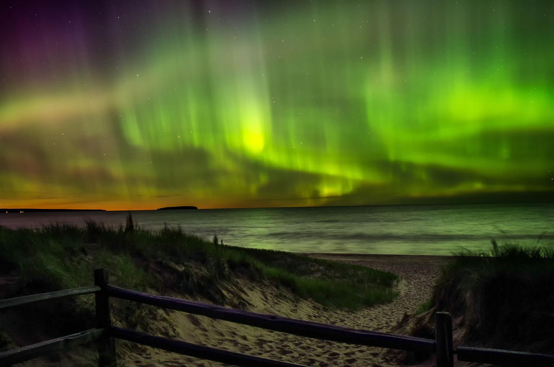 Northern Lights, Autrain Beach, Lake Superior, Michigan