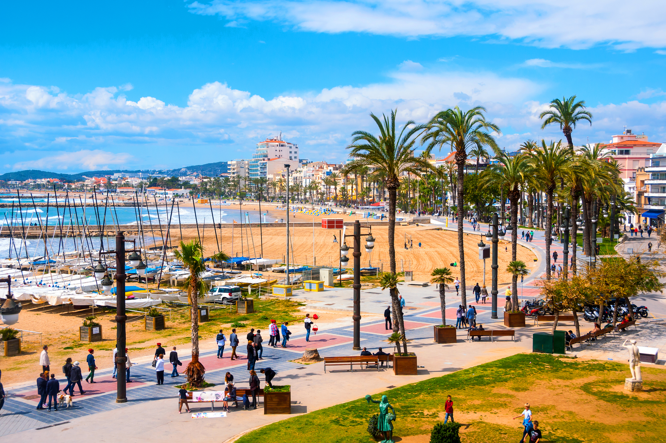 Sitges, Spain beach and promenade area of the popular touristic town in Costa Dorada
