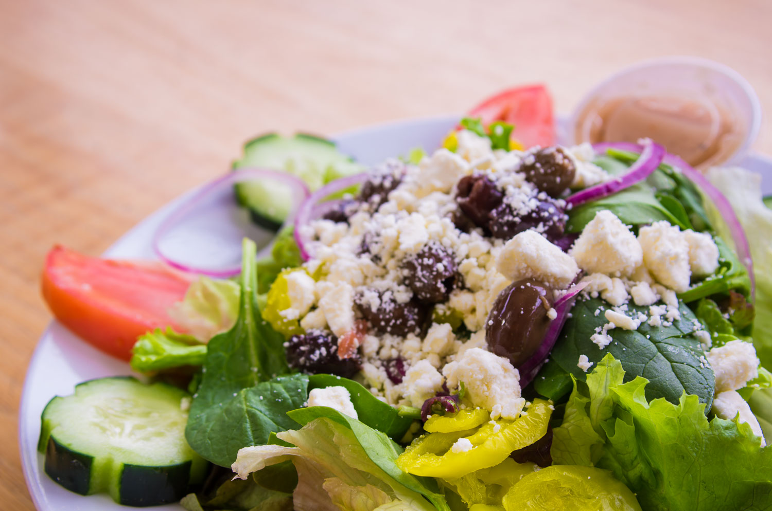 Fresh Salads - Fresh salads with delicious ingredients are available daily. Choose from one of our nine dressing options.