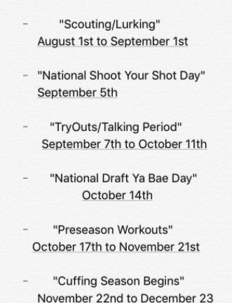 Cuffin' Schedule 2017