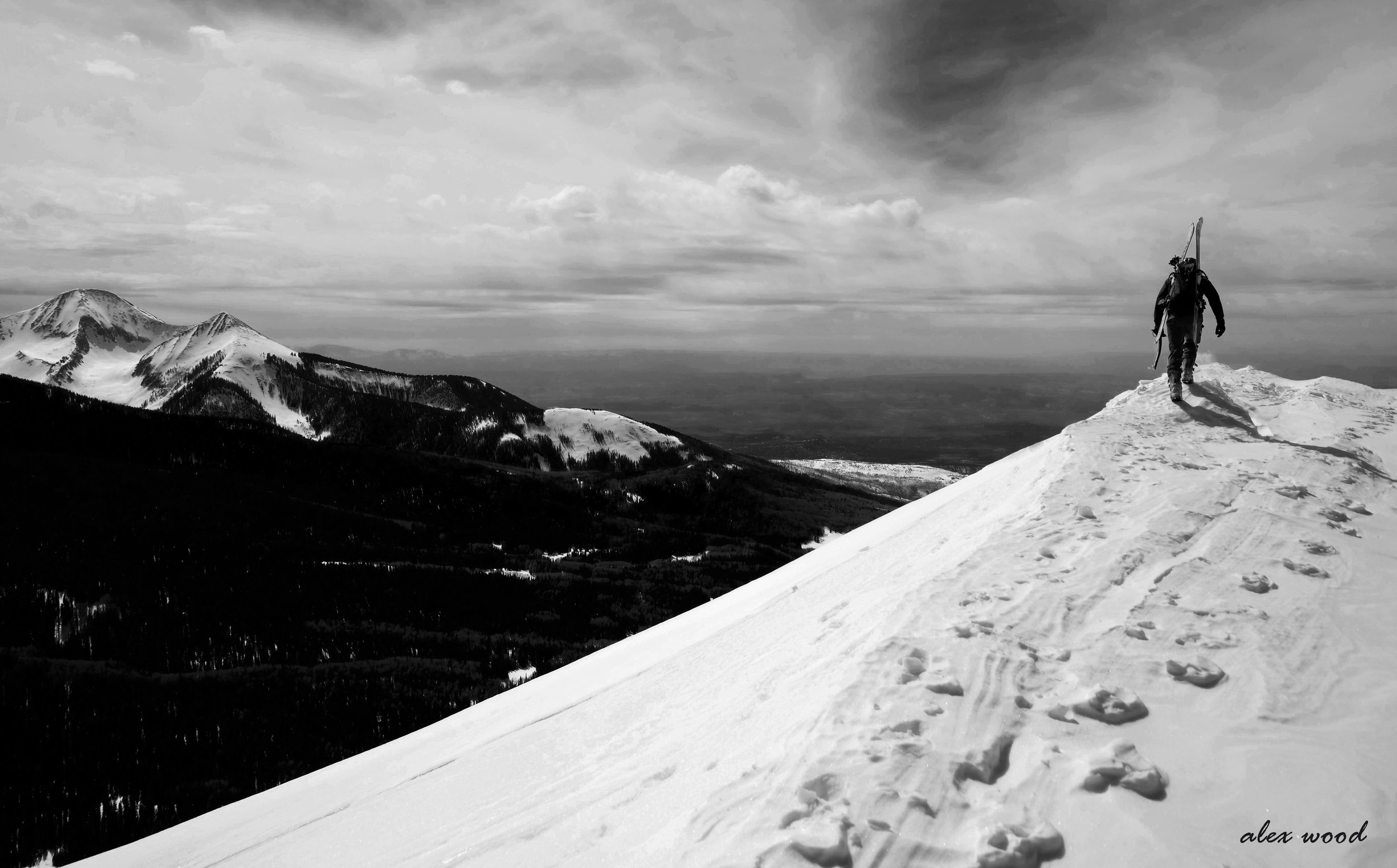 Walking the ridge on Haystack Mountain, La Sal Mountains, Utah