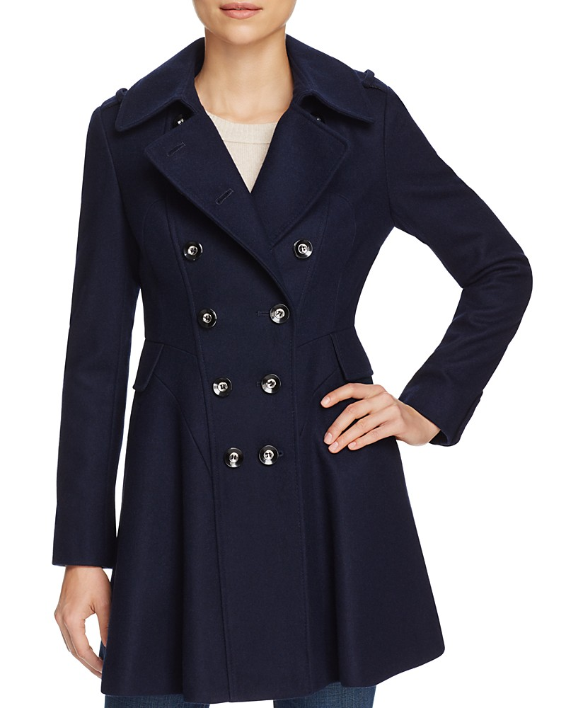 Via Spiga Skirted Double-Breasted Button Front Coat