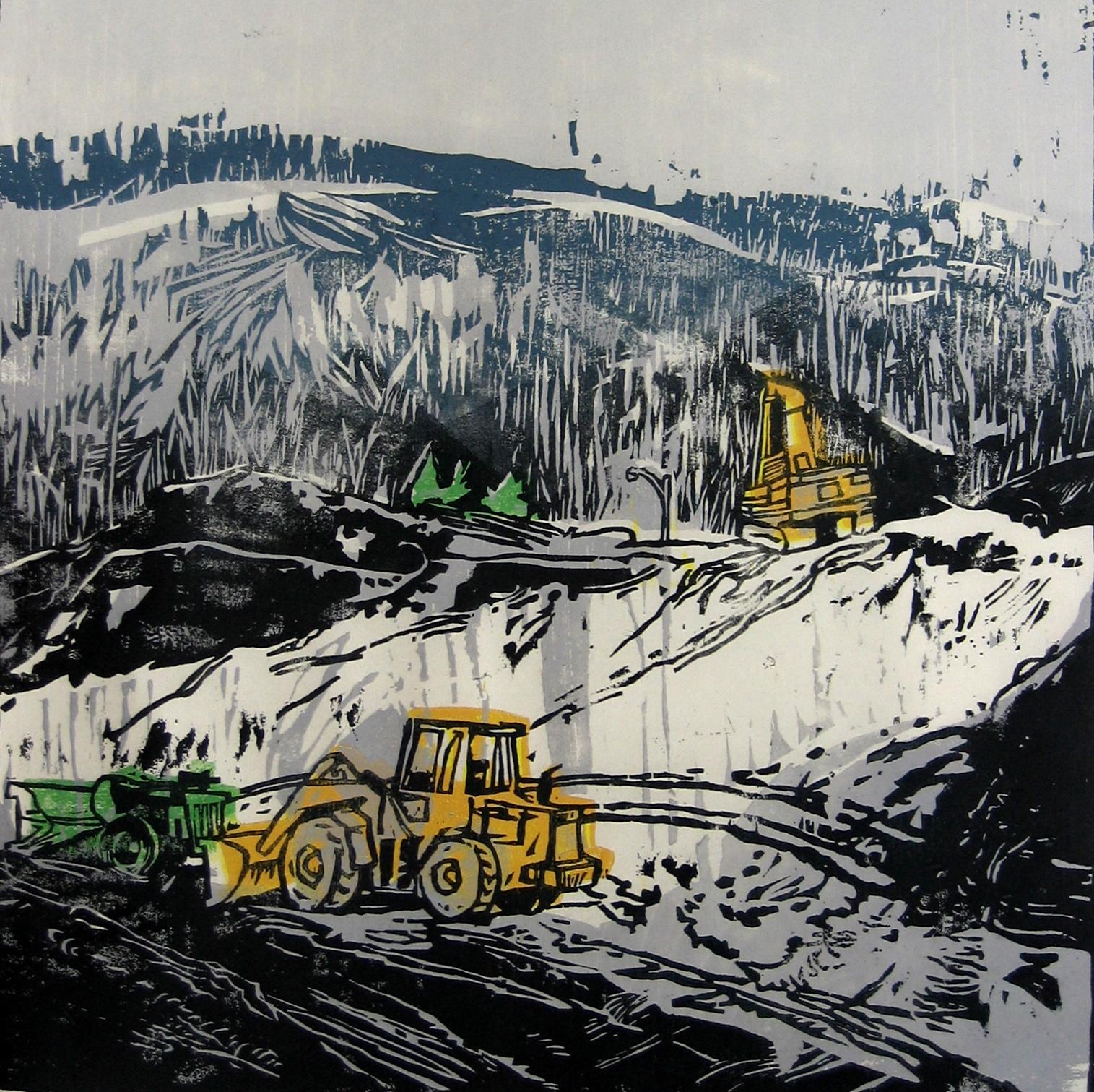 Bulldozers in Snow