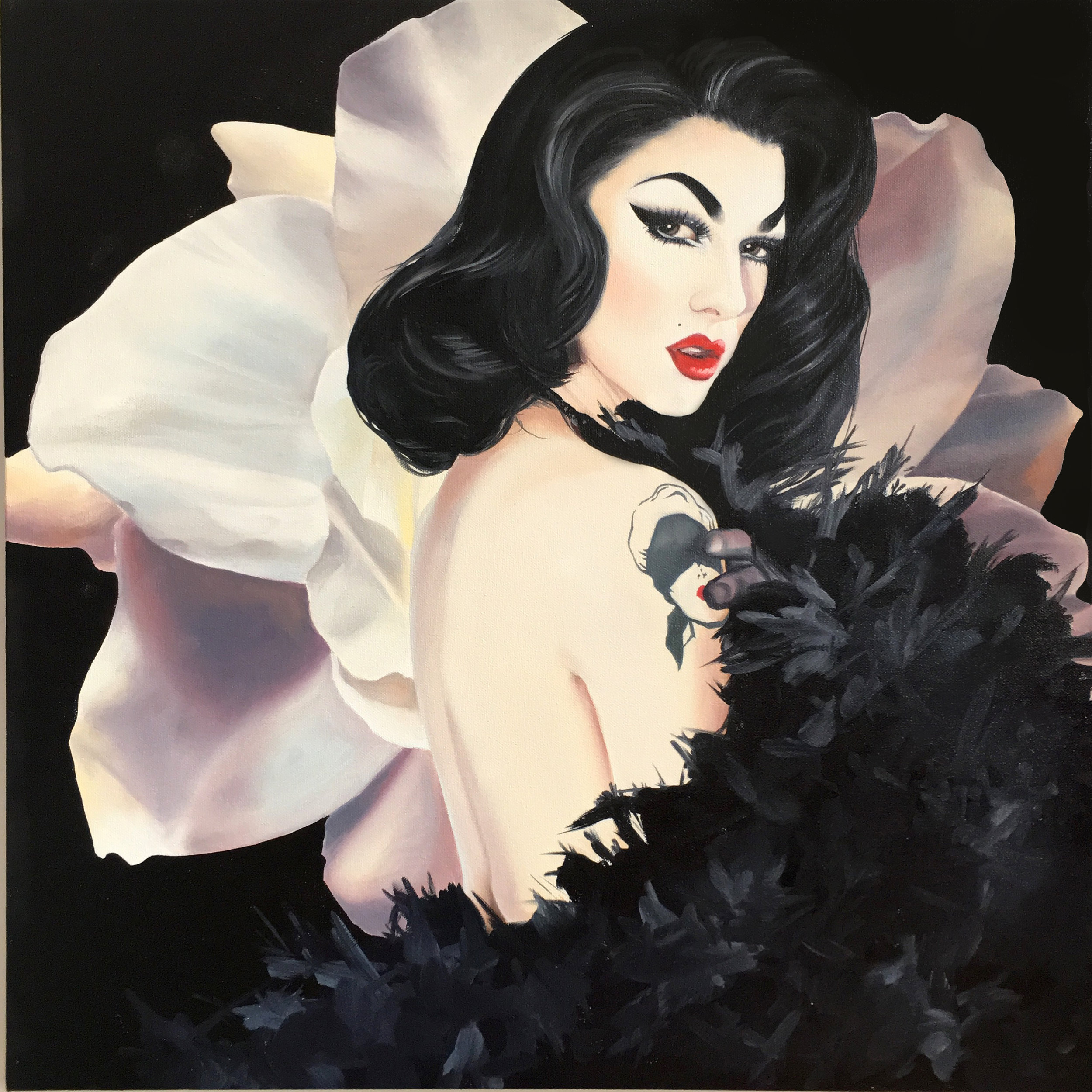 """""""Lady Noire"""", 2017, Ginger Del Rey  oil on canvas 24"""" x 24"""" x .6""""  $1250  I've recently become addicted to RuPaul's Drag Race. Mostly I'm drawn to the incredible creativity... the reinventing of oneself into a fabulous bird of paradise. I find the transformation to be pure art. One of the most successful and bewitching new drag queens is Violet Chachki. Her costumes are the most exquisite works of stitchery, her Erte look is beyond gorgeous and her pin-up looks rival Bettie Page and Dita Von Teese. This painting is a tribute to her classic beauty and killer style."""