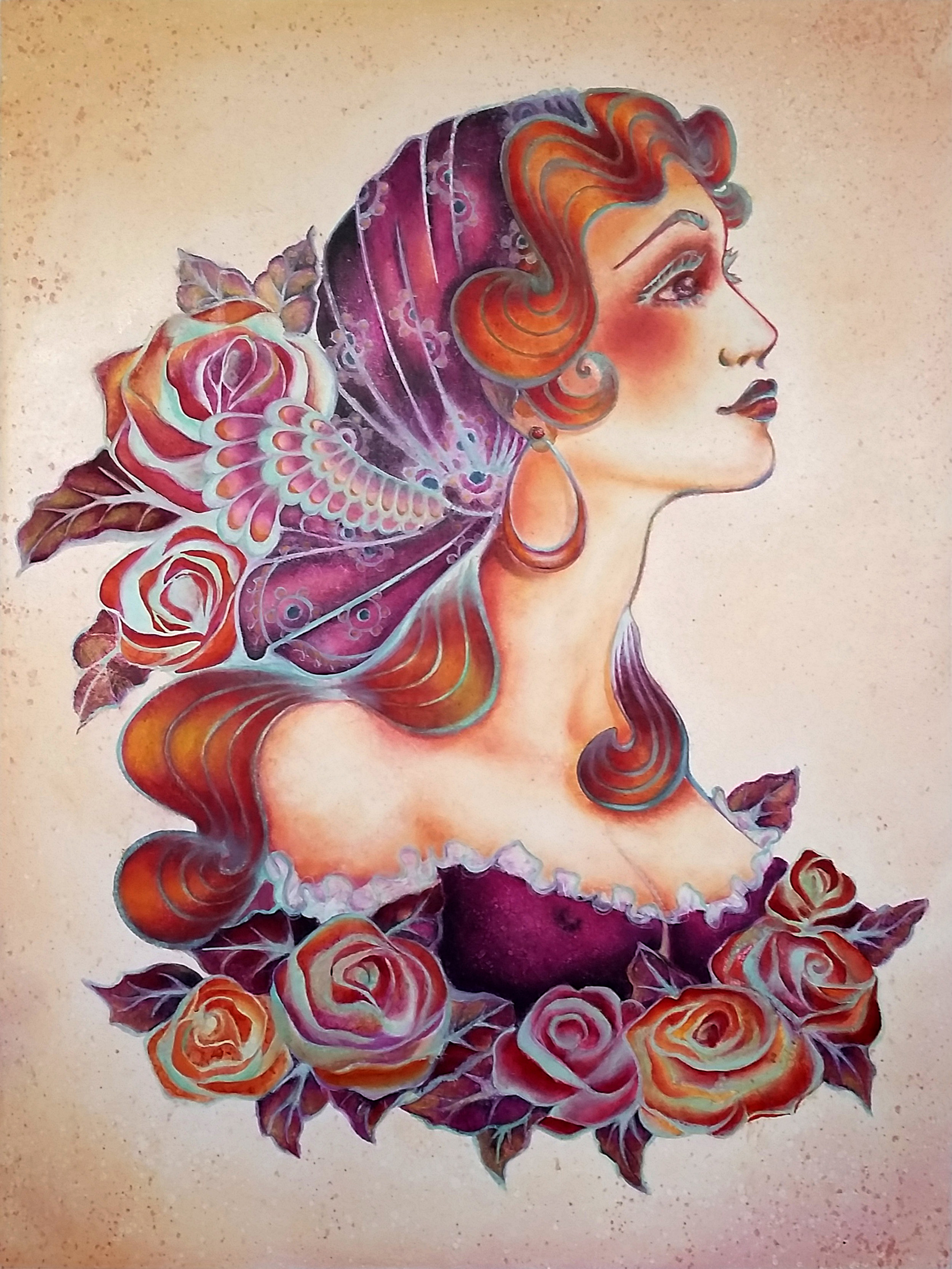 """""""Living Like a Gypsy"""", 2014, Ginger Del Rey  oil on gesso board 24"""" x 18"""" x 1""""  $1200  This painting is inspired by my love of classic, Sailor Jerry style tattoo imagery combined with the ornamentation of Alphonse Mucha, another artist I adore. Instead of the typical heavy black line work, I decided to reverse it by painting most of the lines in pale mint. I think it gives the piece a lush feminine quality."""