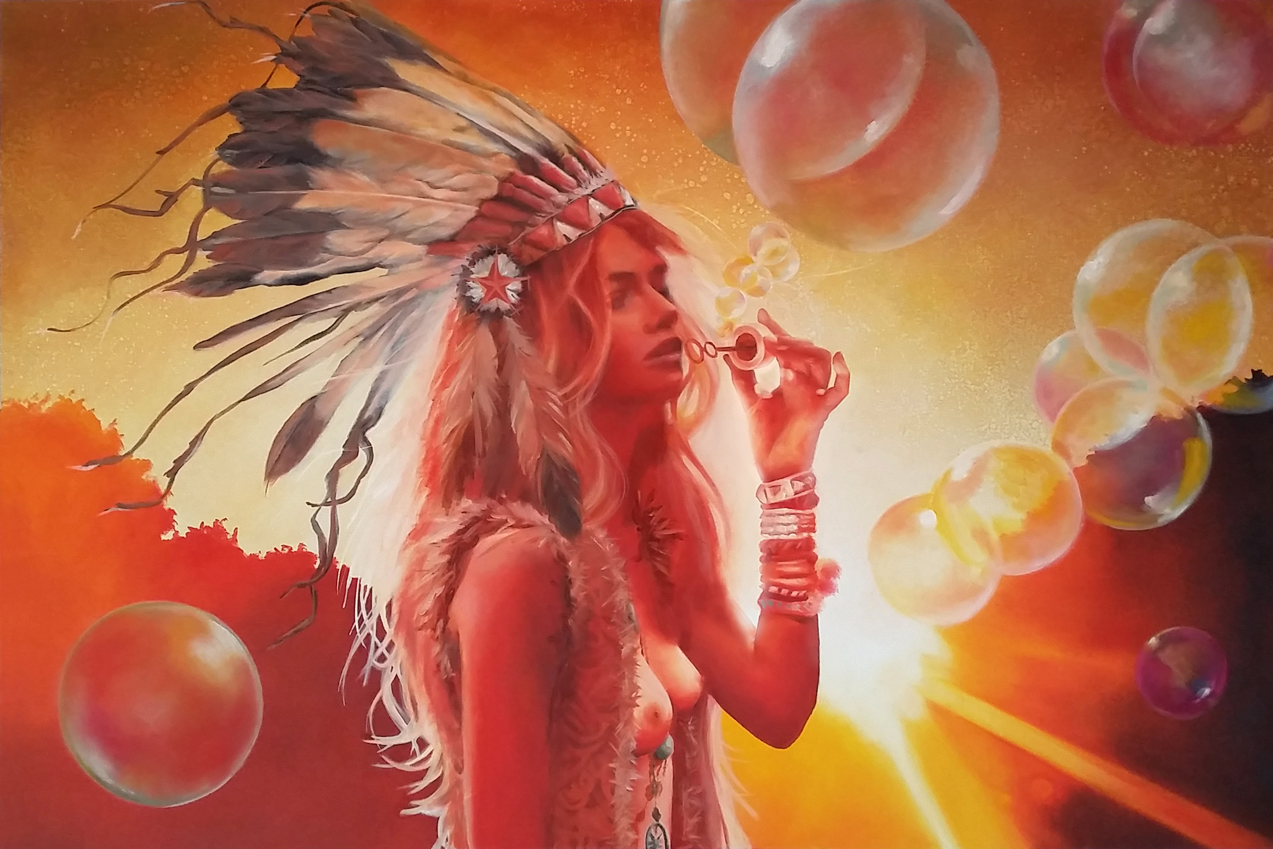 """""""Lost in the Light"""", 2015, Ginger Del Rey  oil on canvas 24"""" x 36"""" x .6""""  $2500  The inspiration for this painting was a particularly vivid daydream I had of walking through the mountains in Sedona, blowing bubbles and watching the sun slowly drip beneath the horizon, shooting out dusty white hot beams of light in every direction. This is one my favorite paintings because, since I was a child growing up in Wisconsin, I've been fascinated with all things Native American. I was particularly drawn to the beauty of the headdress, and while I'm very cognizant that the war bonnet is not worn by women or worn in casual settings, I wanted to bring a peaceful, light-giving and feminine reclamation to the headdress. I hope that is captured here, nothing but reverence and admiration is intended."""