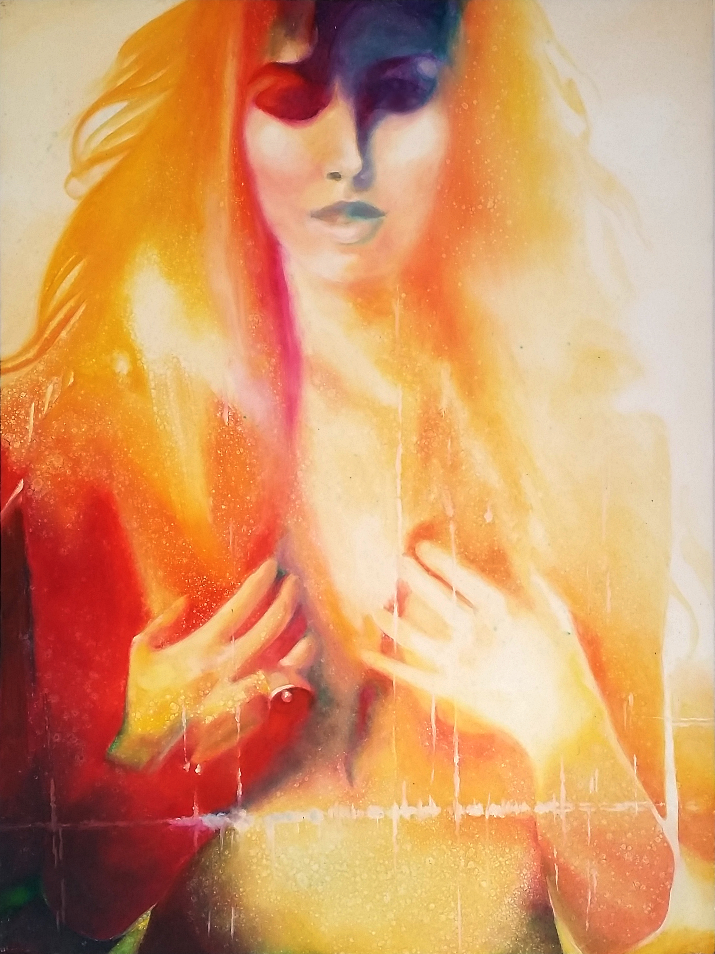 """""""See Me... Feel Me...Touch Me..."""", 2014, Ginger Del Rey  oil on gesso board 24"""" x 18"""" x 1""""  $1500  I love how completely unhidden this woman is. She's fearless. Confident. Demanding to be seen, touched, opened, filled....she's resplendent in her fiery aura. To touch her is to feel ecstasy and pure light. I named after a lyric from one of my favorite songs by The Who."""