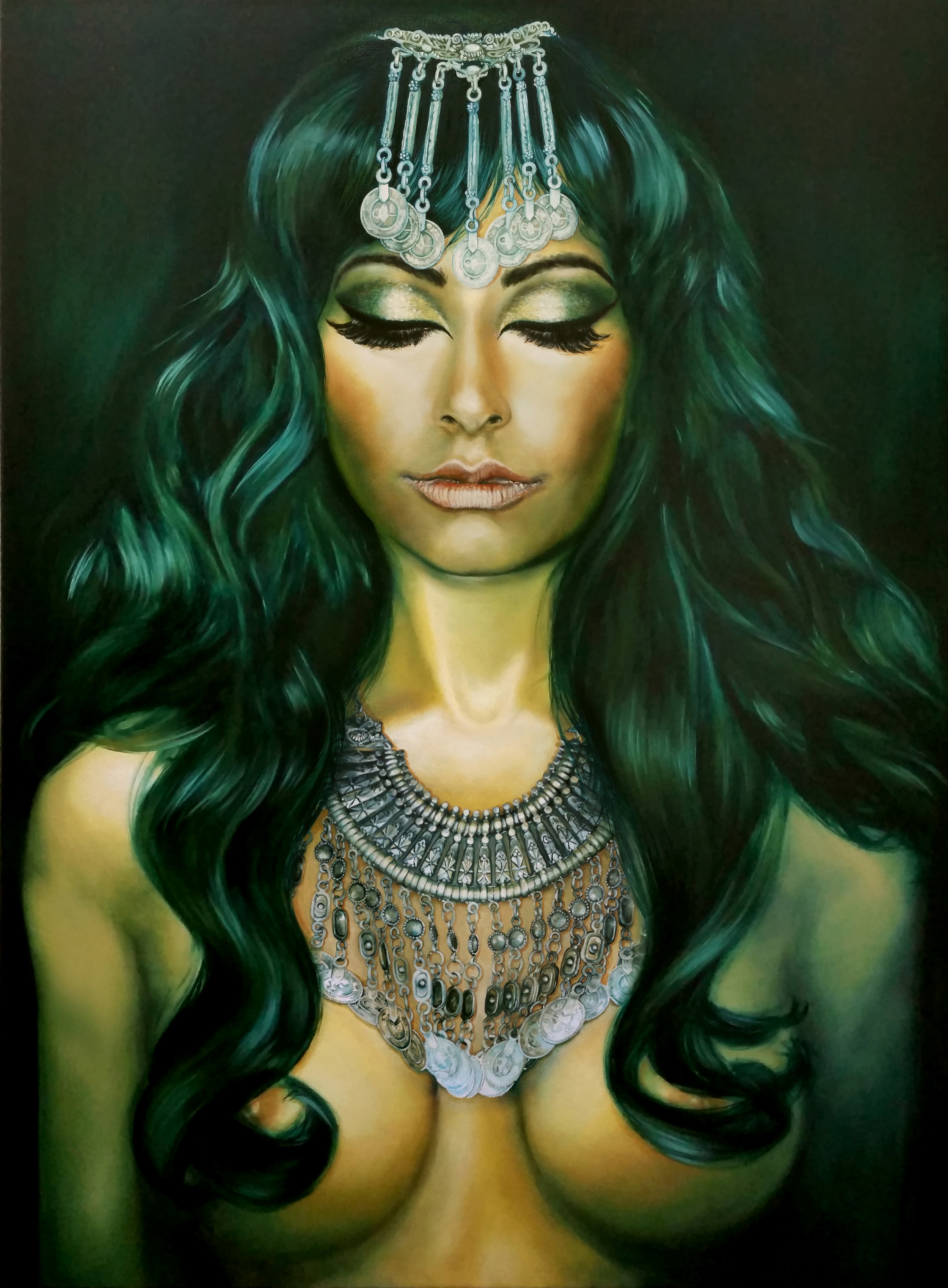 """""""Serenity"""", 2016, Ginger Del Rey  oil on canvas 48"""" x 36"""" x 1.5""""  $6000  This is a portrait of my very dear friend Zeenath- a truly lovely, vibrant woman who perpetually radiates an unquenchable lust for life. Her strong passions remind me of one of my favorite Kerouac quotes:  """"The only people for me are the mad ones, the ones who are mad to live, mad to talk, mad to be saved, desirous of everything at the same time, the ones who never yawn or say a commonplace thing, but burn, burn, burn like fabulous yellow roman candles exploding like spiders across the stars."""" This is Zee to a tee. But such a strong, fiery soul usually finds the one thing she's lacking is a feeling she's arrived, she can relax, she can enjoy the moment. So I chose to paint her in a rare moment of perfect peace and serenity."""