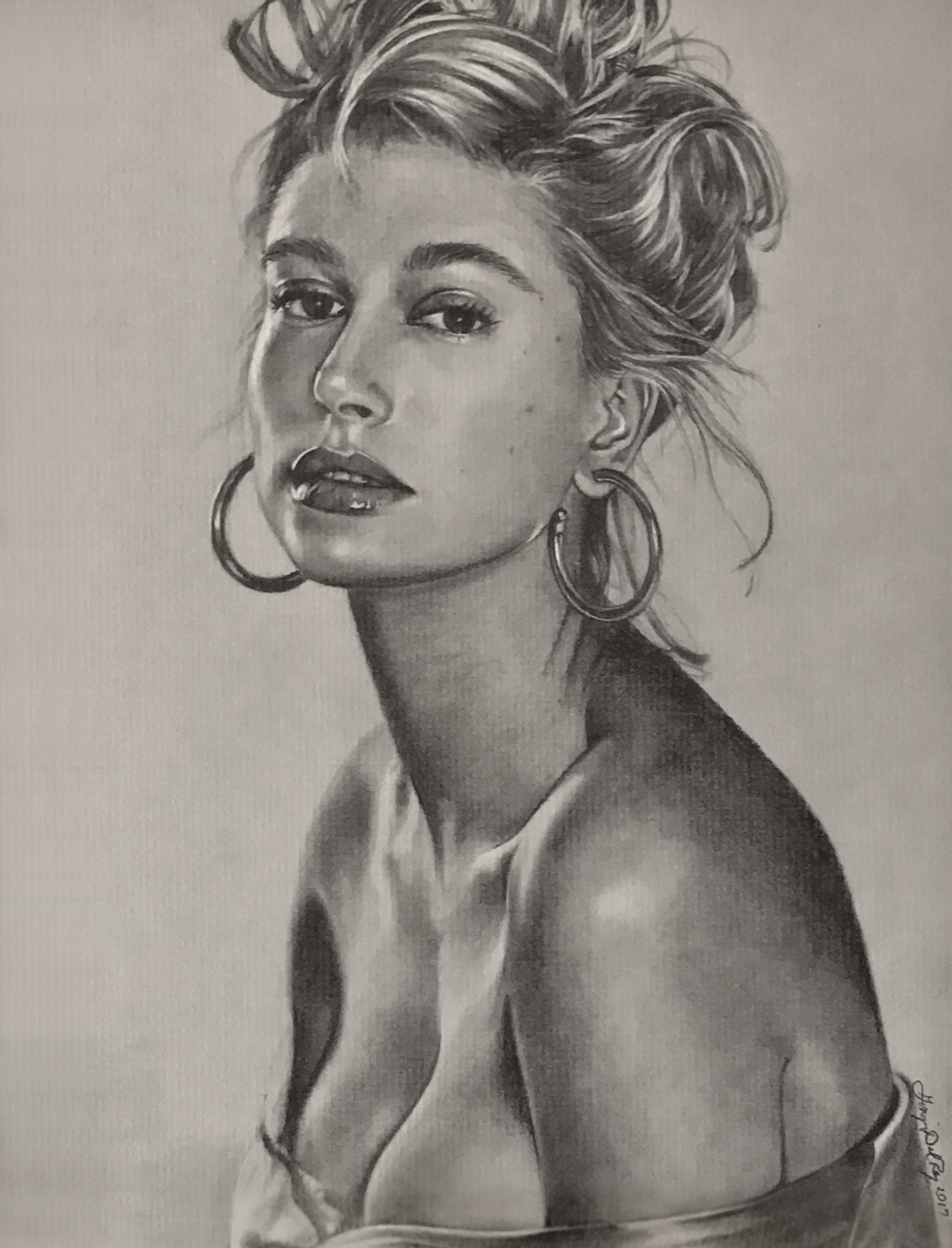 """""""Can You See Me"""", 2017, pencil on paper  Ginger Del Rey  portrait of Hailey Baldwin"""