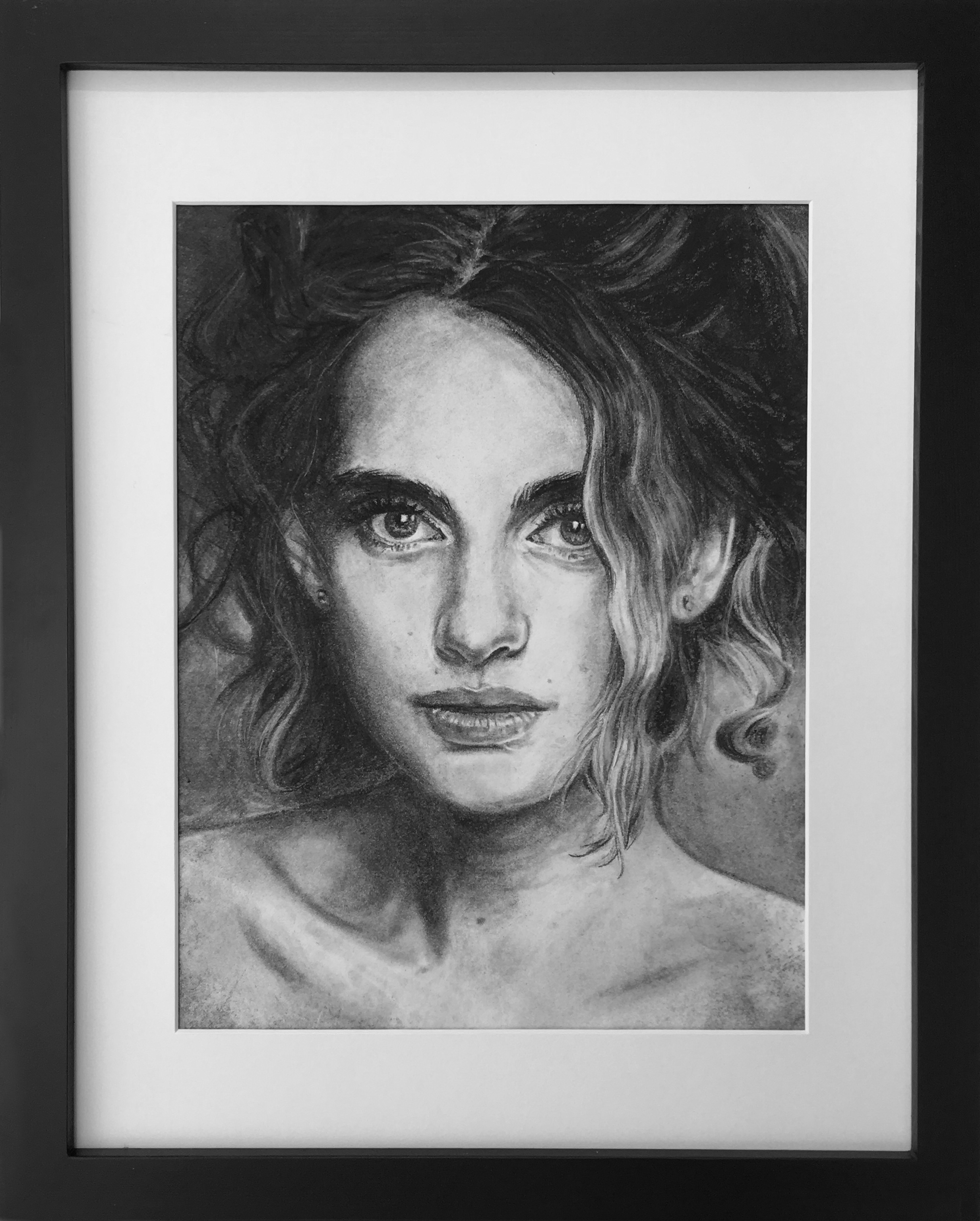 """The Spirit of Ani"", 2017, Ginger Del Rey  charcoal on paper, 10.5"" x 8"" framed to 15"" x 12""  click  here  to purchase"