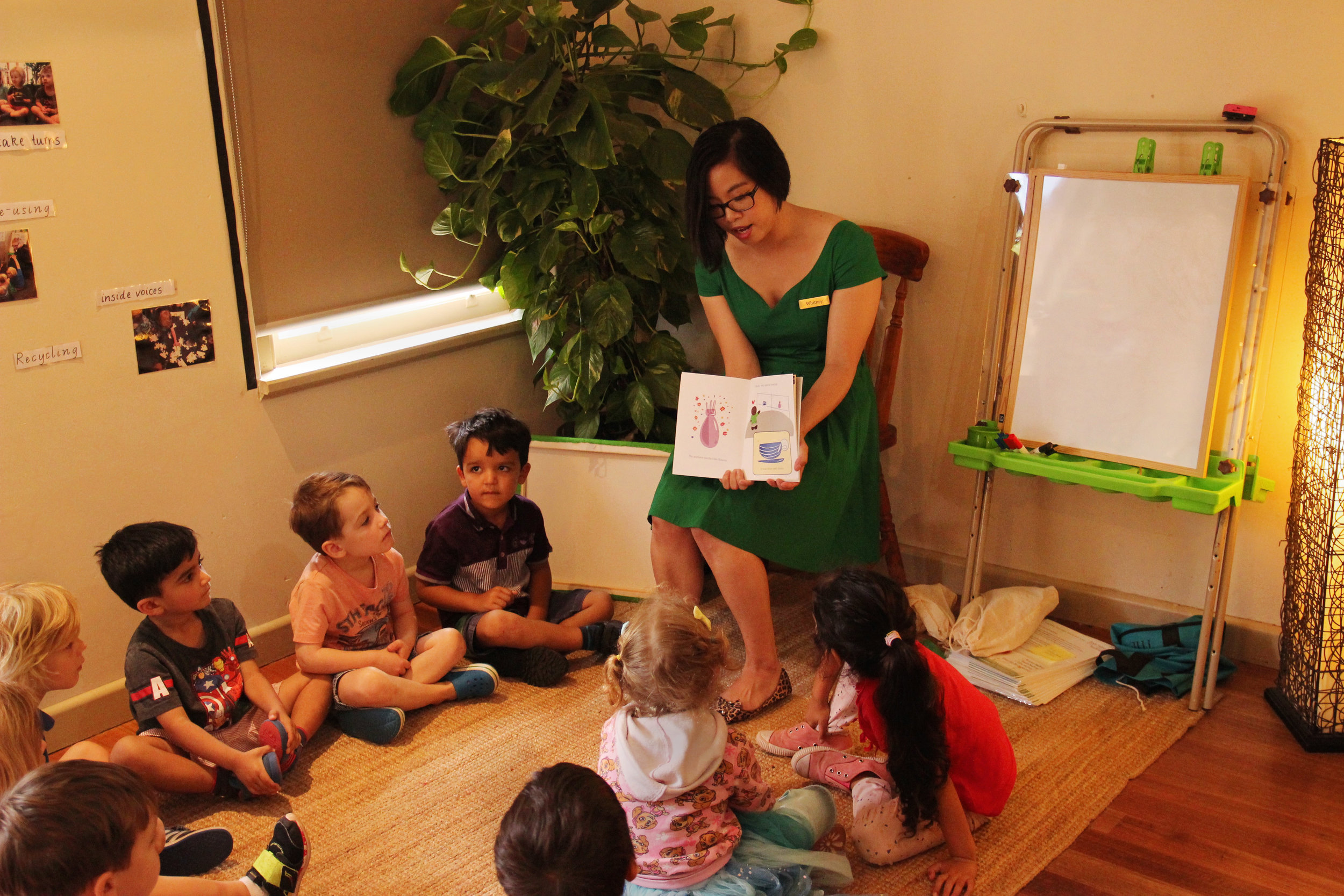 Children at Bridge Road Early Learning Centre listening to 'Surprise! Mum's Birthday' to learn the difference between secrets and surprises.  Photo: Klari Agar