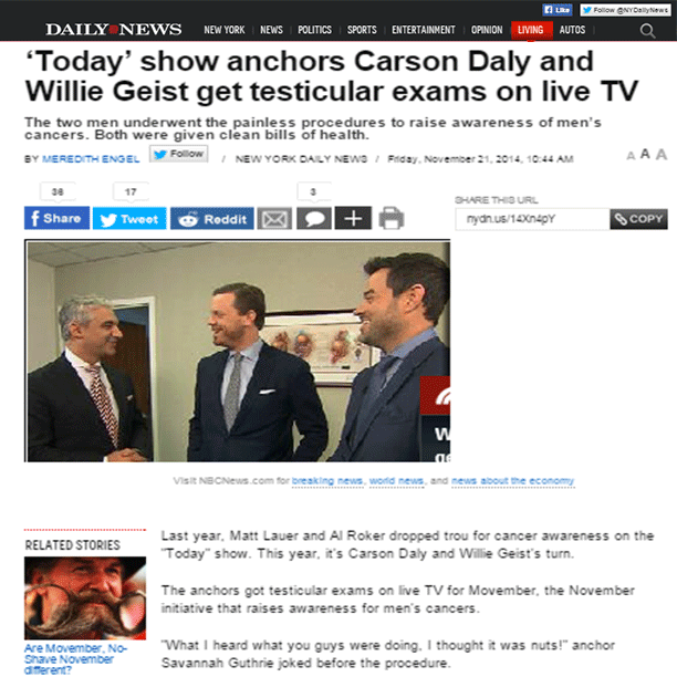 Daily News Features Dr. David Samadi's Today Show segment
