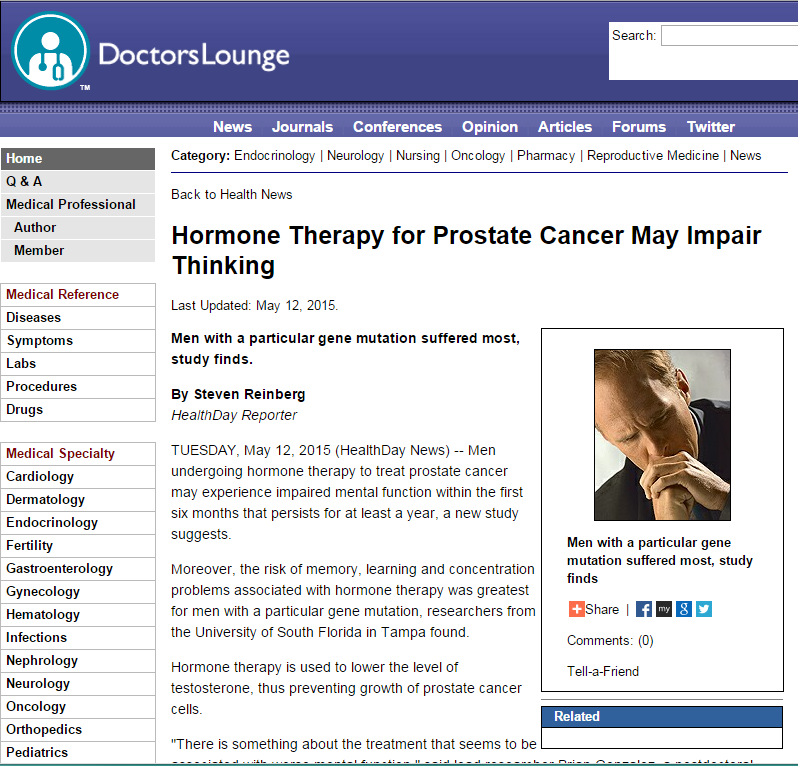 Doctor's Lounge: Hormone Therapy for Prostate Cancer Treatment by Dr. David Samaid