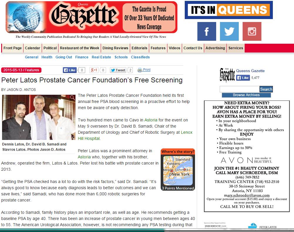 Western Queen Gazette: PSA Screening Event, Dr. David Samadi