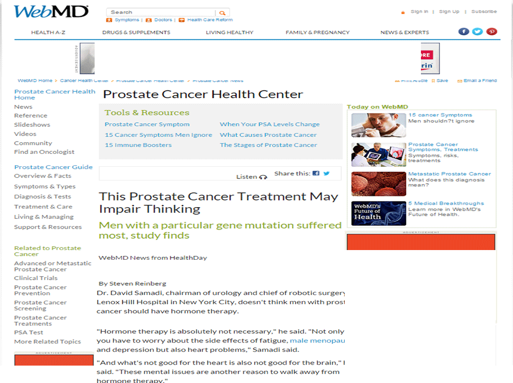 WebMD: Dr. David Samadi on Hormone Therapy for Prostate Cancer