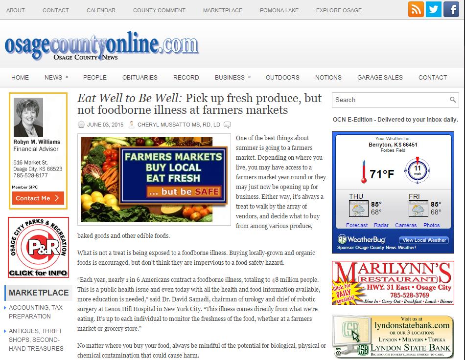 Osage County: Foodborne Illnesses, Dr. David Samadi