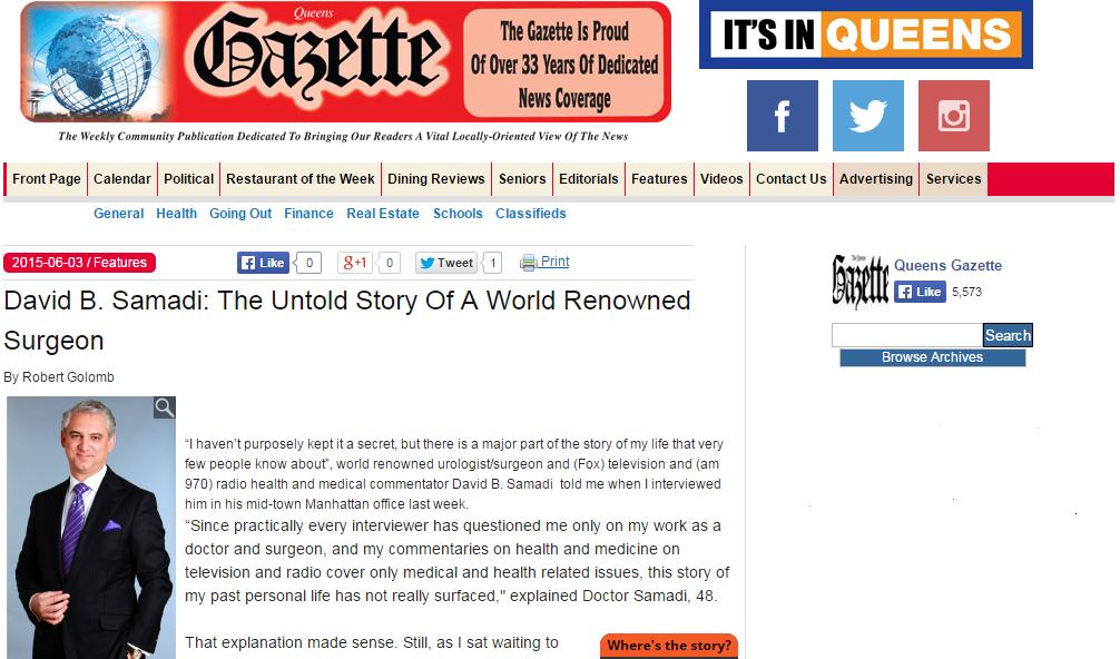 Queen Gazette: The Untold Story of Dr. David Samadi
