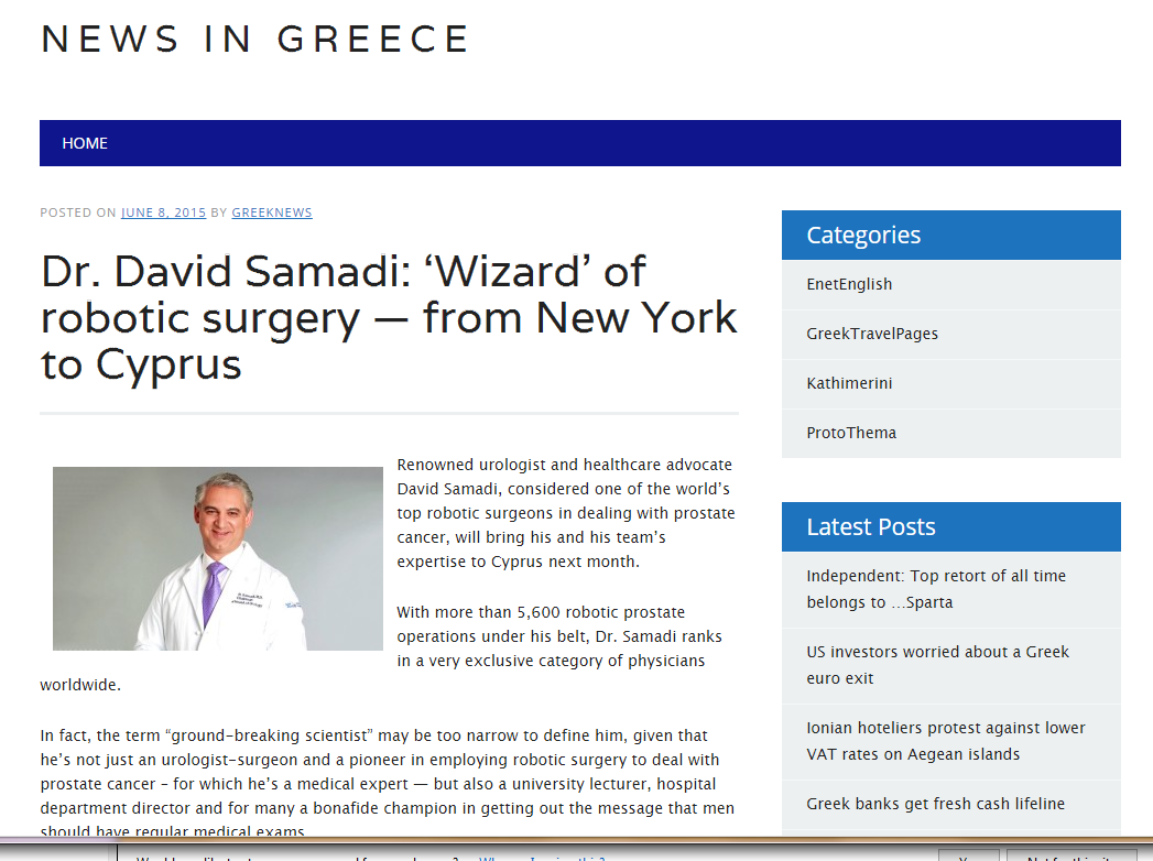 News in Greece: Dr. David Samadi