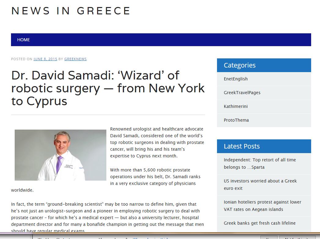 News in Greece: Dr. David Samadi