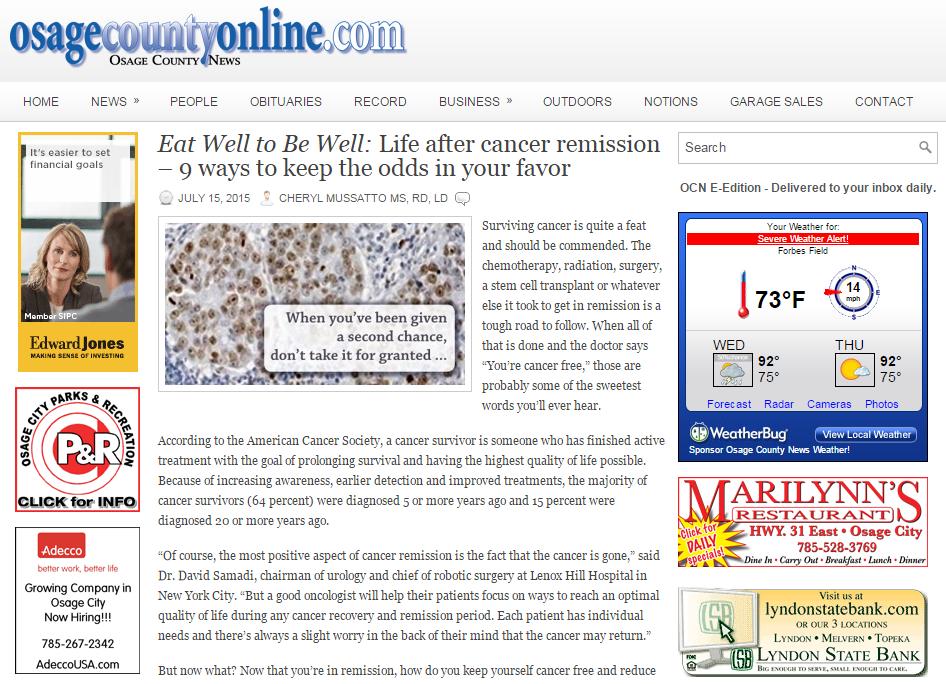 Osage County: Life After Cancer: Dr. David Samadi