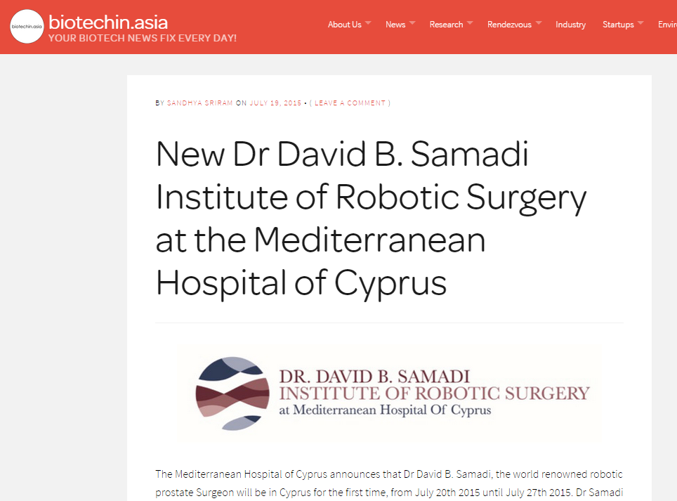 New Dr. David Samadi Robotic Surgery Institute in Cyprus