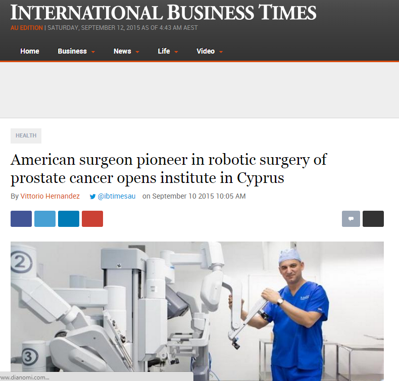 International Business Times: Dr. David Samadi Institute of Robotic Surgery in Cyprus