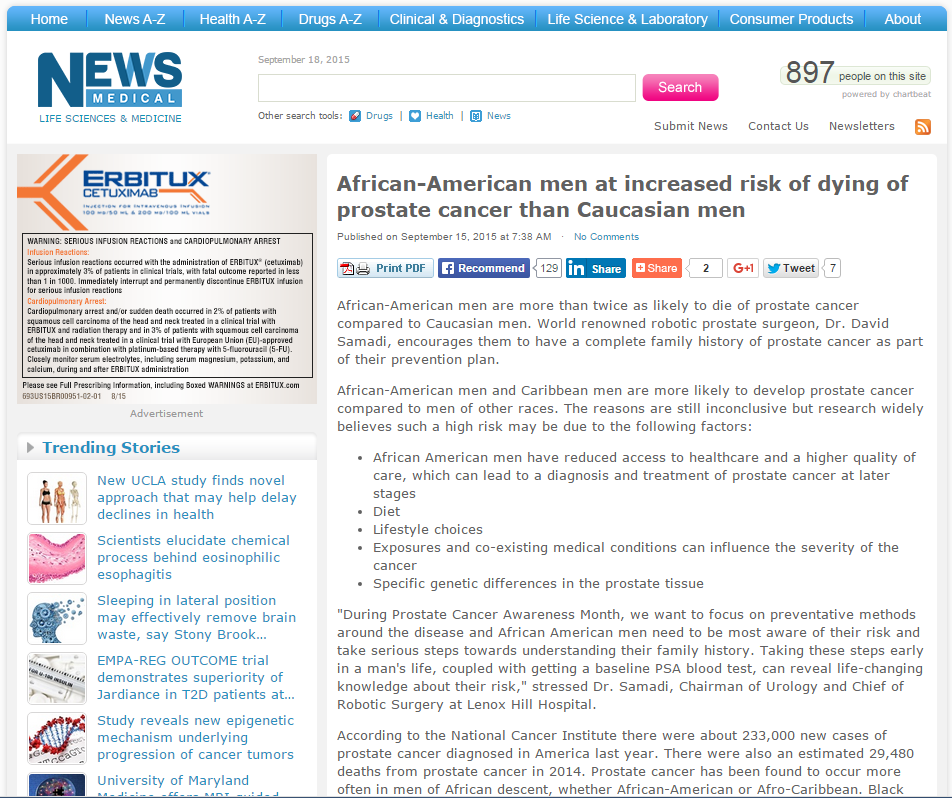 African American Men More At Risk for Prostate Cancer