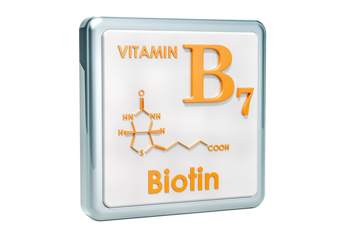 Vitamin B7, biotin. Icon, chemical formula, molecular structure on white background. 3D rendering