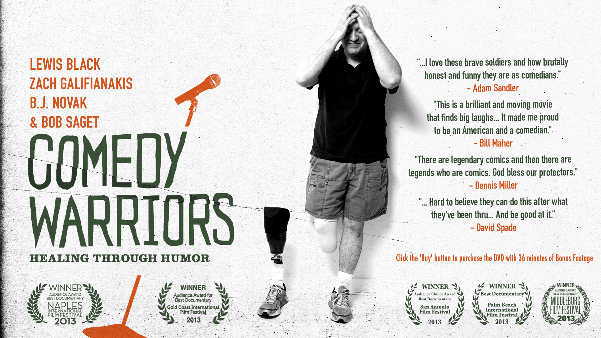 """Comedy Warriors"" is the story of five wounded servicemembers being mentored by comedy greats to perform stand up comedy.  Directed by John Wager.  For more information visit  www.comedywarriors.com ."
