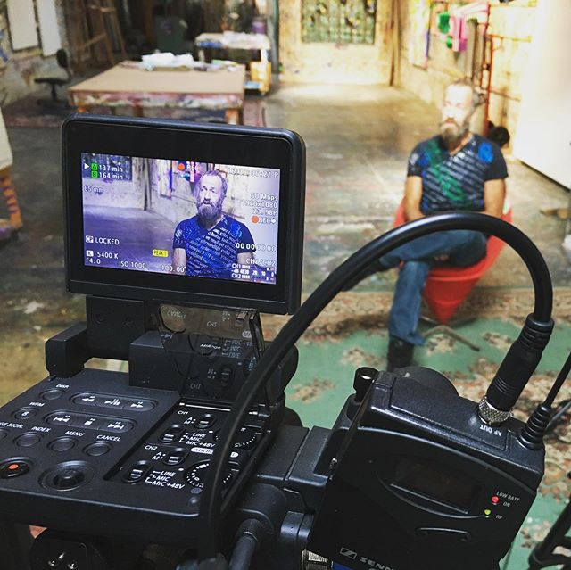 Great hanging with @kennyscharf in his beautiful LA studio. Many insights into #basquiat , #keithharring and the NYC scene at the time. #basquiatdoc #boomforreal #samo #saradriver #magnoliapictures
