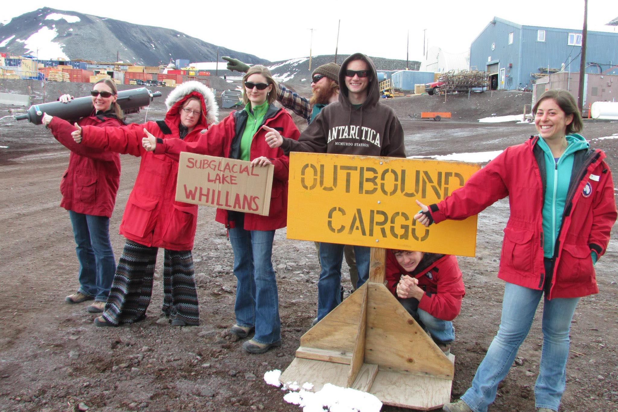 Students attempt to hitch a ride to Subglacial Lake Whillans, as the wait at McMurdo drags on. Hitchhiking in Antarctica is not very effective. PHOTO BY SUSAN KELLY