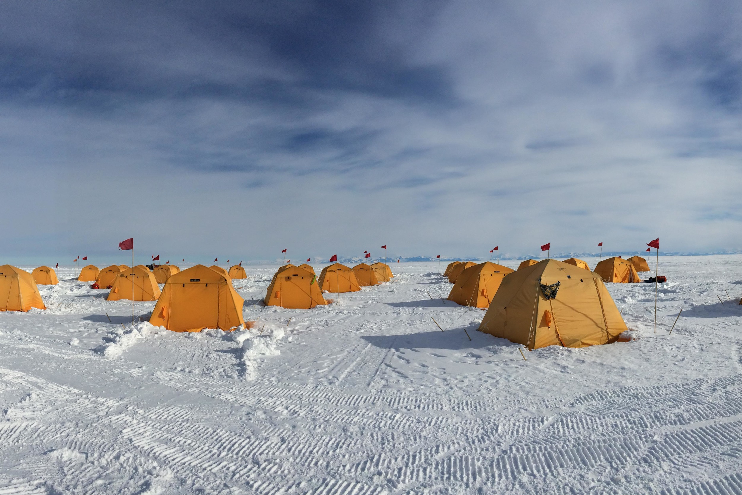 Sleeping tents at Subglacial Lake Whillans. PHOTO BY TRISTA VICK-MAJORS