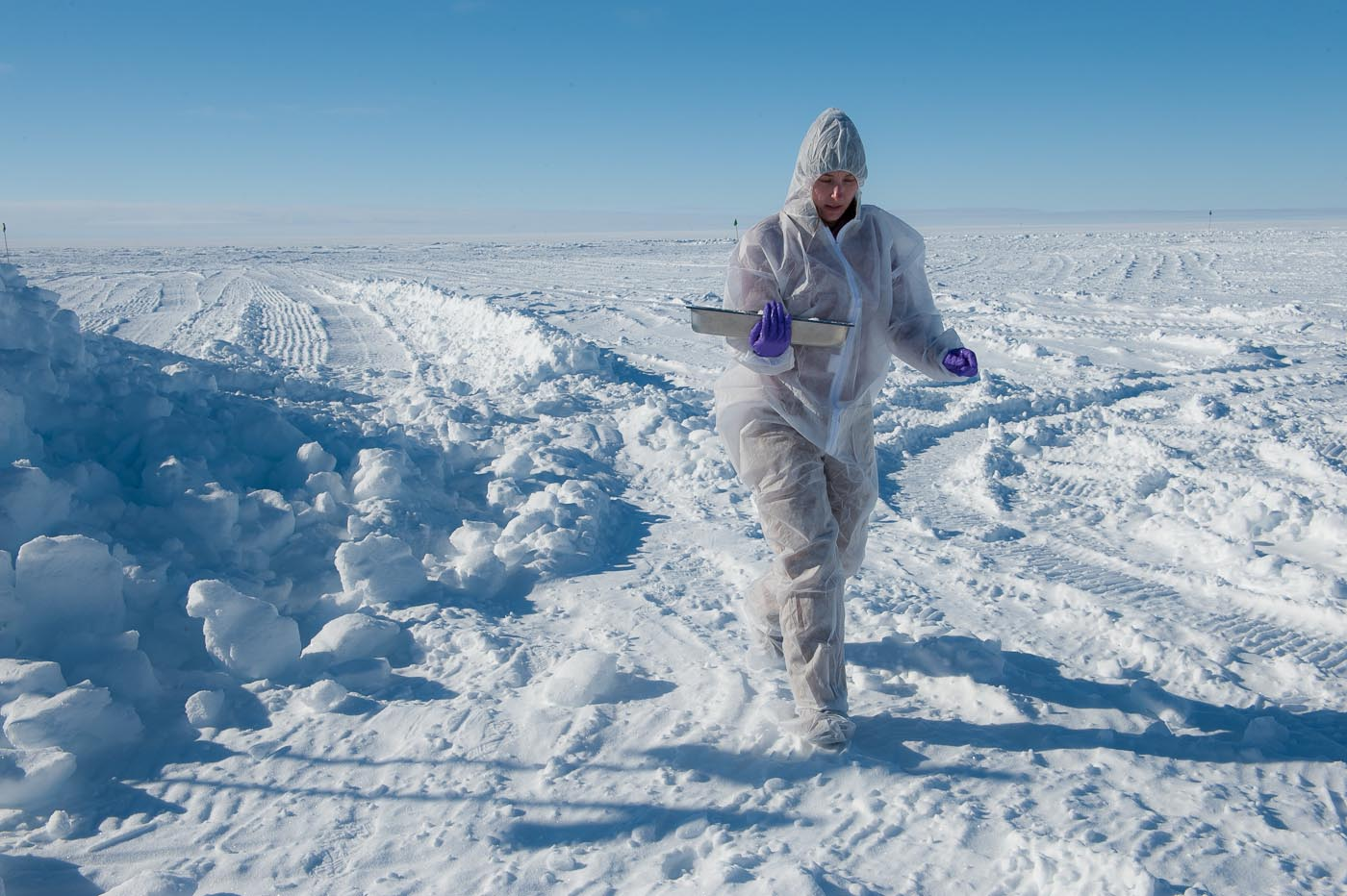 Trista Vick-Majors carries samples from the ice cave freezer at Subglacial Lake Whillans to the lab. PHOTO BY J.T. THOMAS