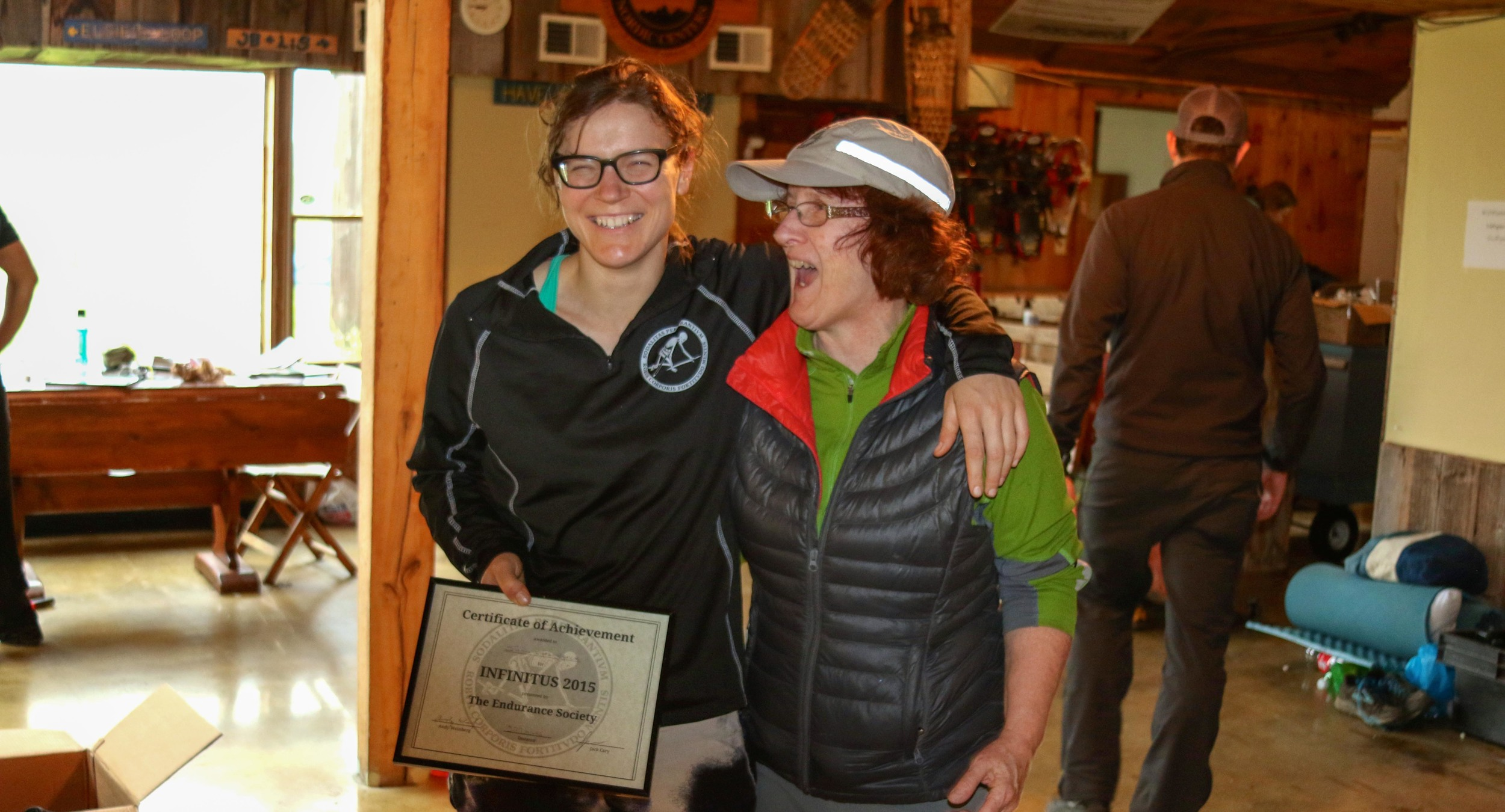 Jordan and her mom, Rebecca, celebrate at the end of the 888k race.