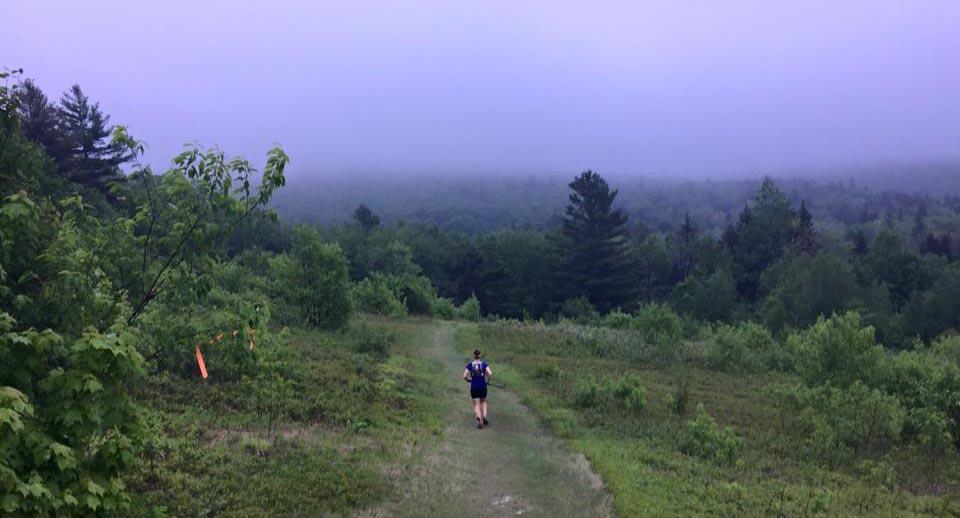 A fog settles in over the Infinitus race course as Jordan runs.