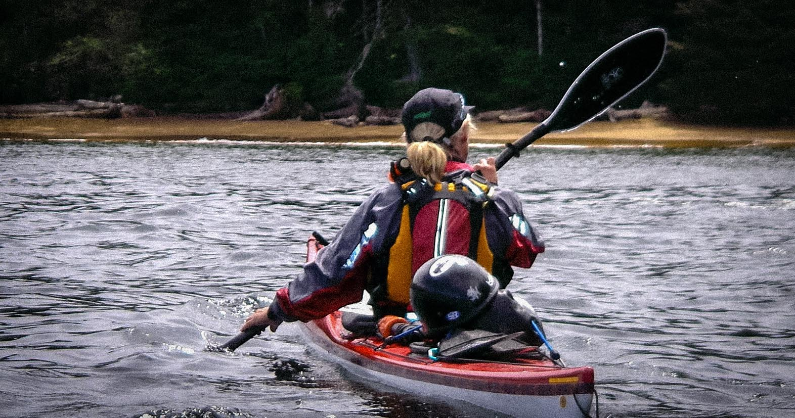 Susan Conrad in her kayak on the inside passage. (Photo courtesy Susan Conrad)